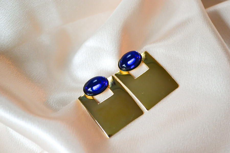 blue glass square gold tone vintage stud earrings