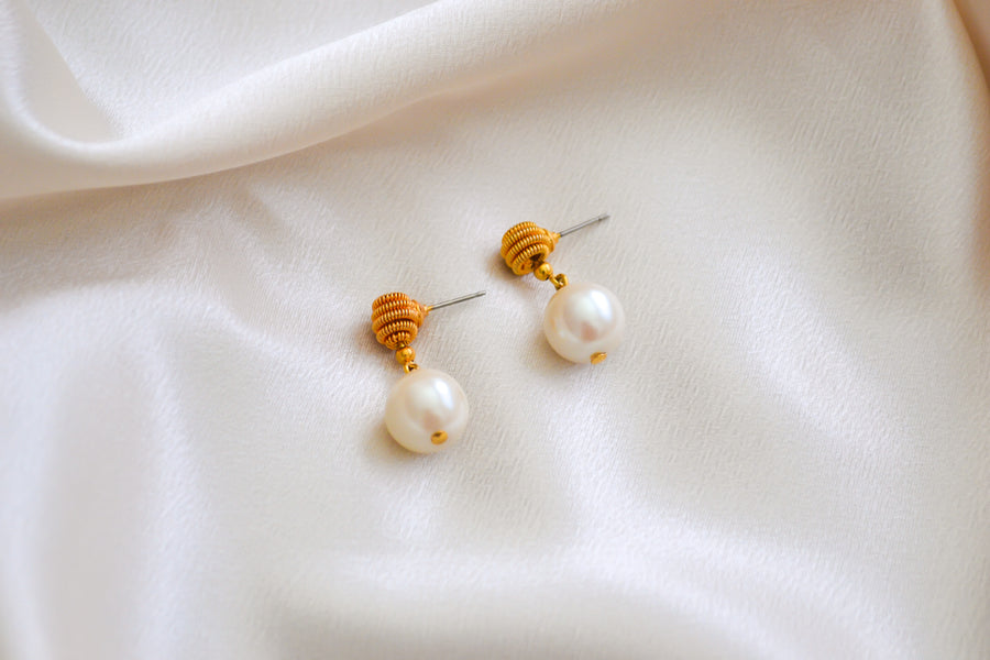 Faux Pearl Hanging Earrings