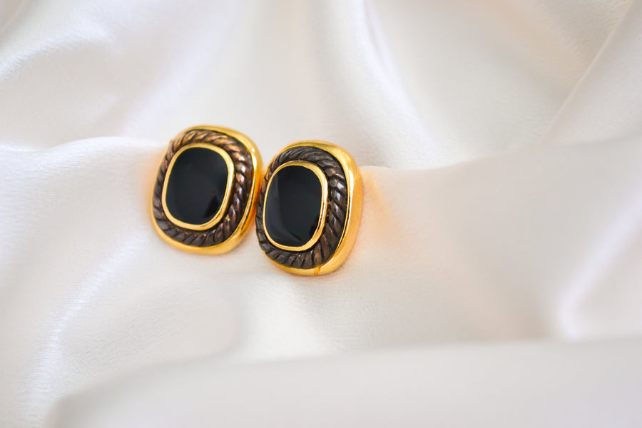 Black and Gold Square Earrings