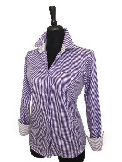 Purple & White Mini Check Cotton Shirt