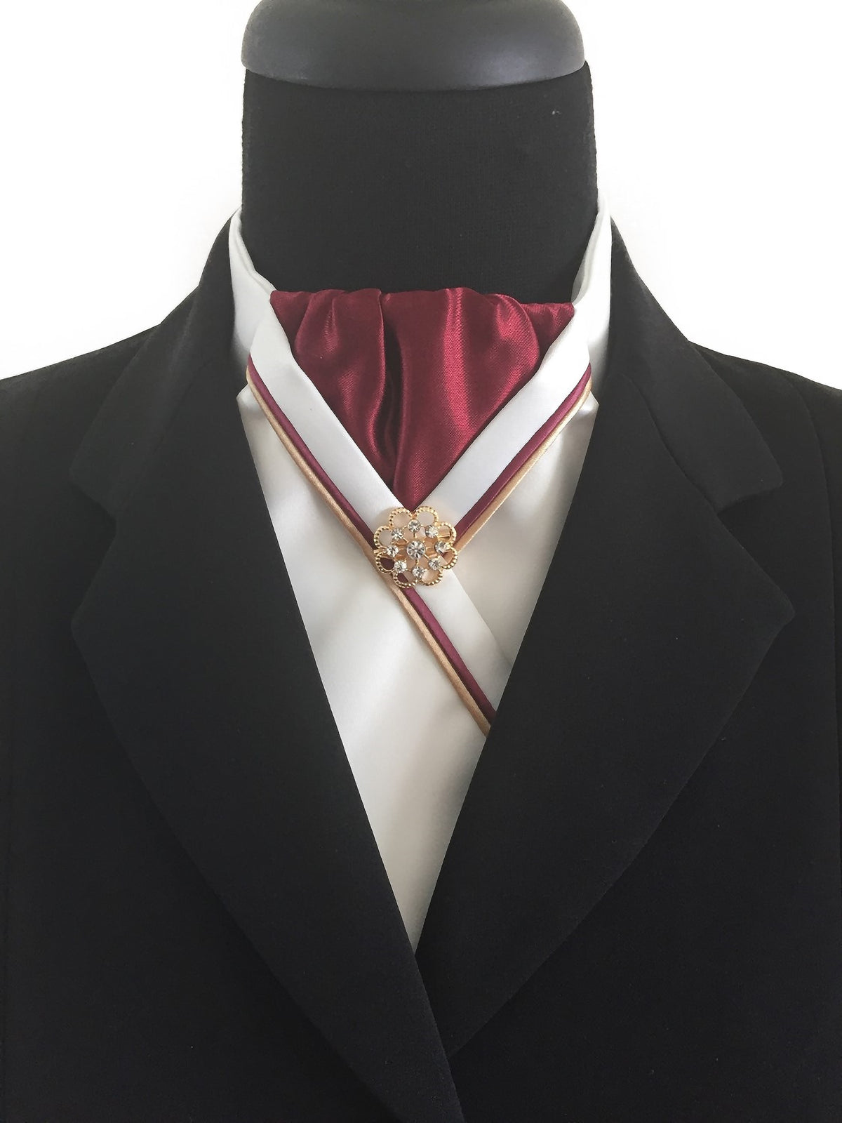 Cream Stock Tie with Burgundy Center and Piping