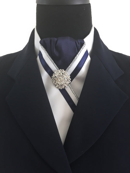 White Stock Tie with Navy Blue Center and Ribbon