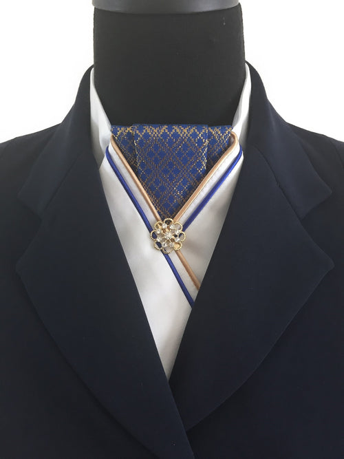 White Stock Tie with Royal Blue and Gold Jacquard Center