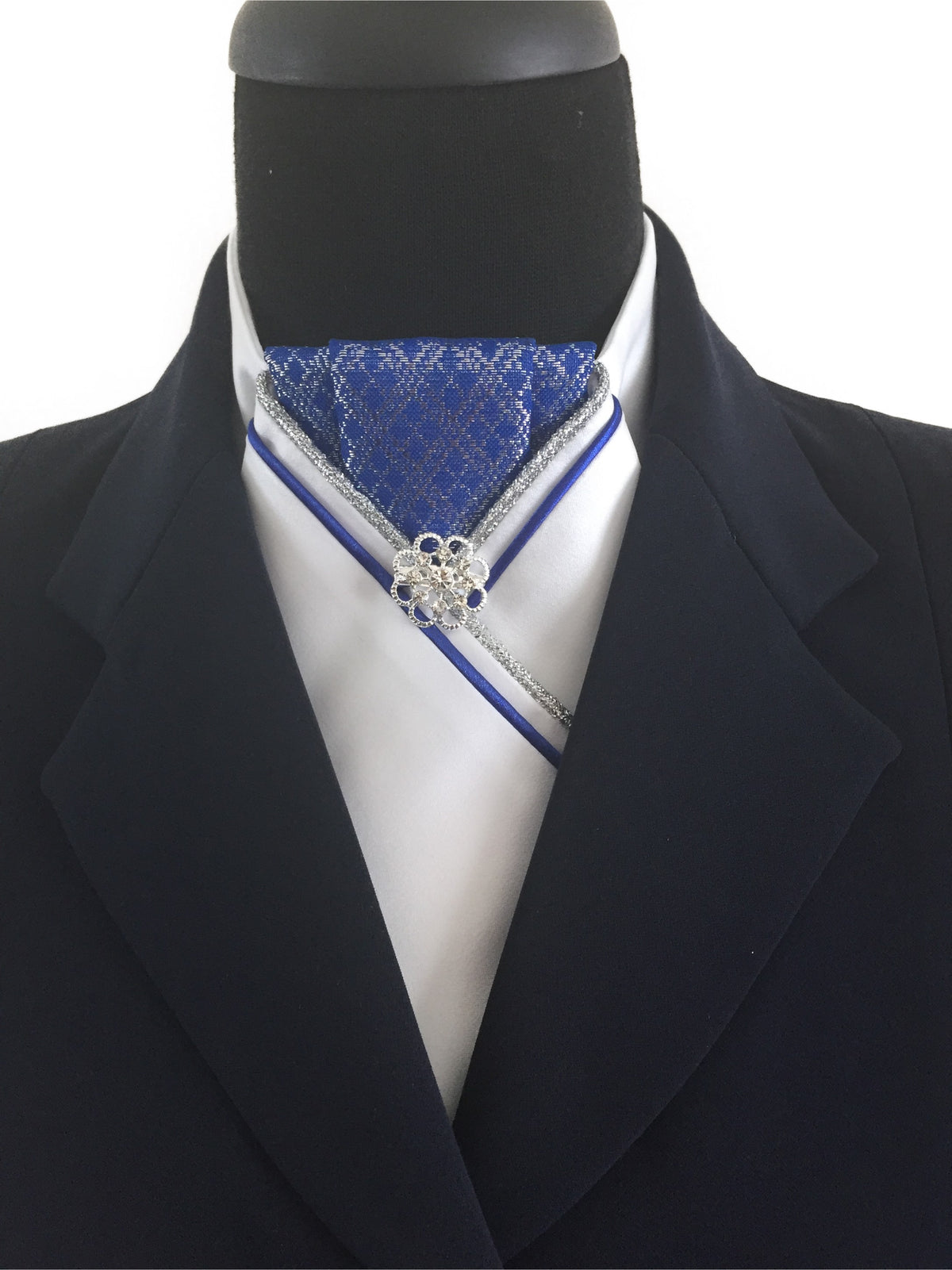 White Stock Tie with Royal Blue and Silver Jacquard Center