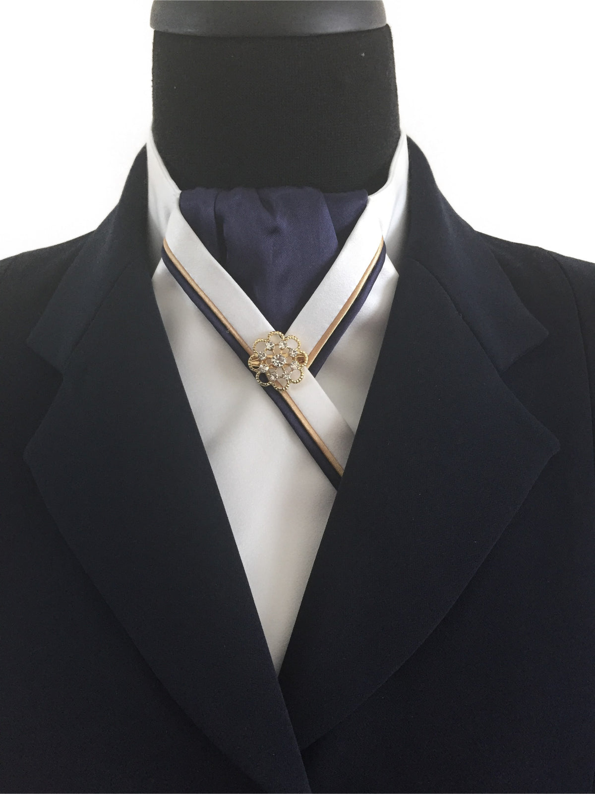 White Stock Tie with Navy Center and Navy & Gold Piping