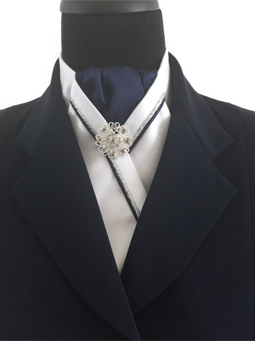 White Stock Tie with Navy Center and Navy & Silver Piping