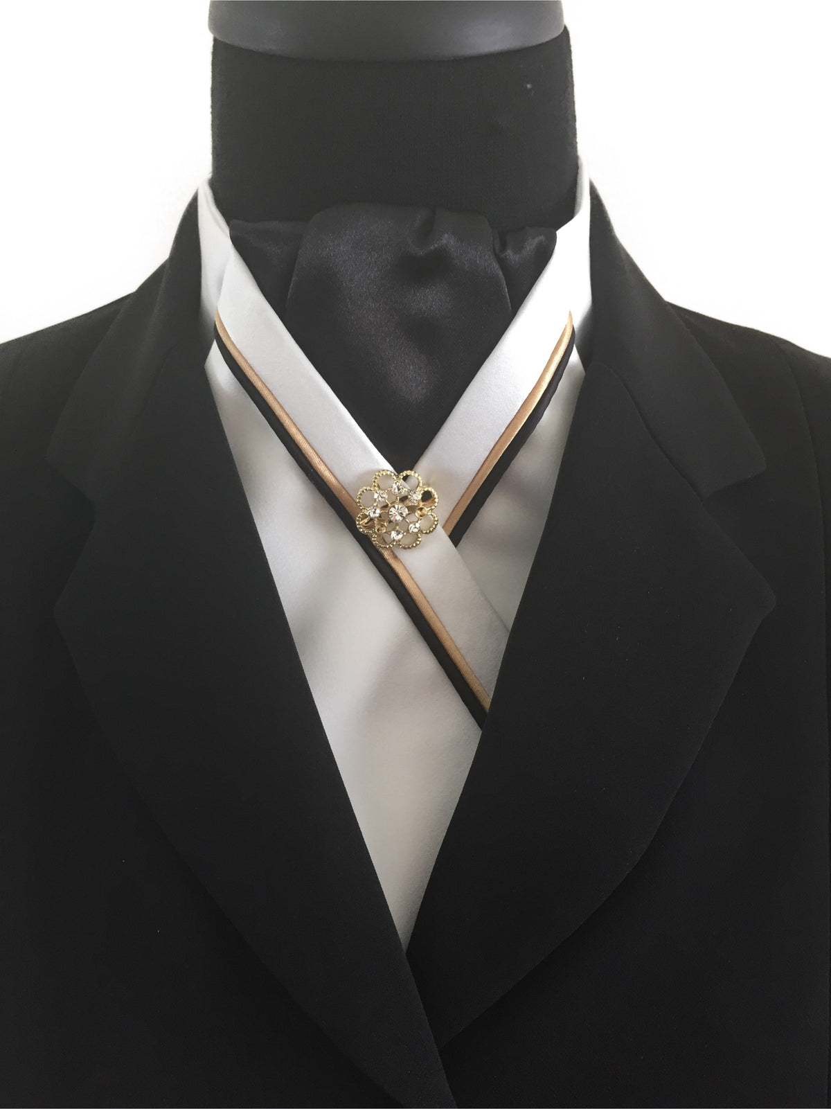 White Stock Tie with Black Center and Black & Gold Piping