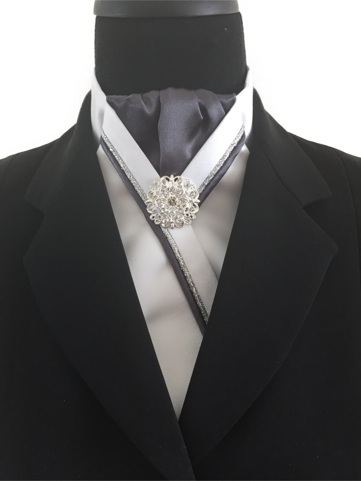 White Stock Tie with Gray Center and Gray & Silver Piping