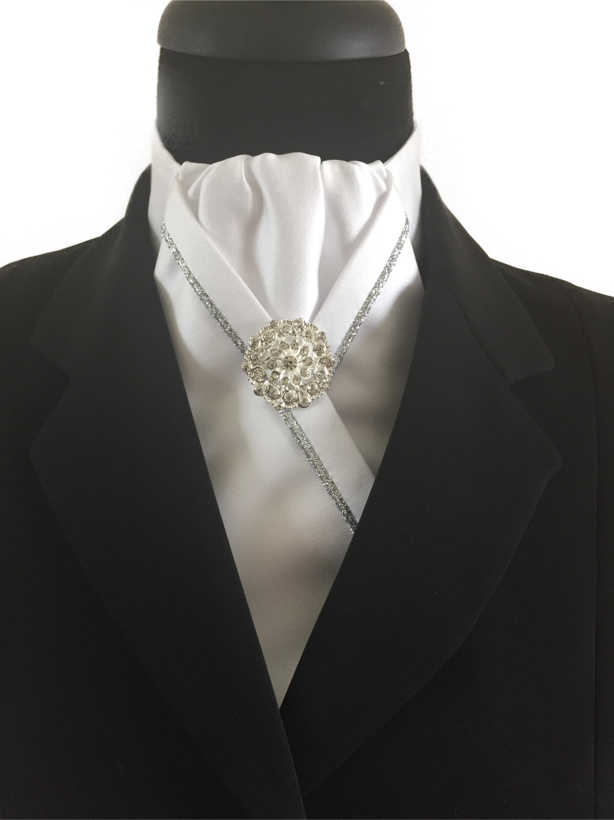 White Stock Tie with Silver Piping