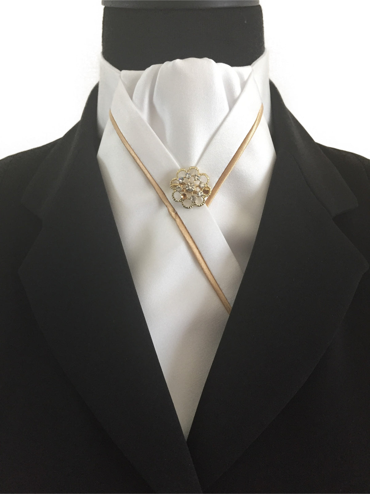 White Stock Tie with Gold Piping