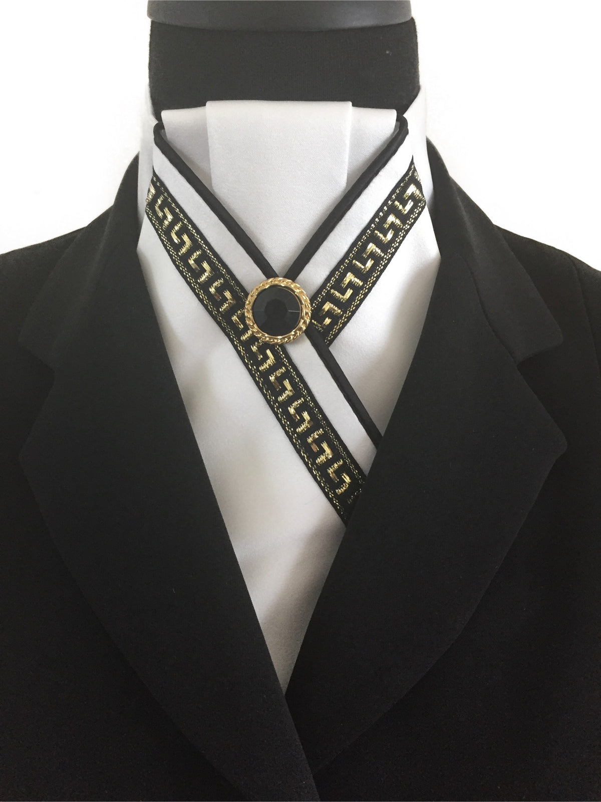 White Stock Tie with Black & Gold Trim