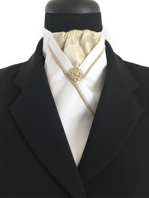 White Stock Tie with Gold Brocade and Piping