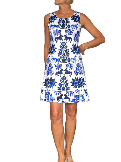 Blue Equestrian Print Dress