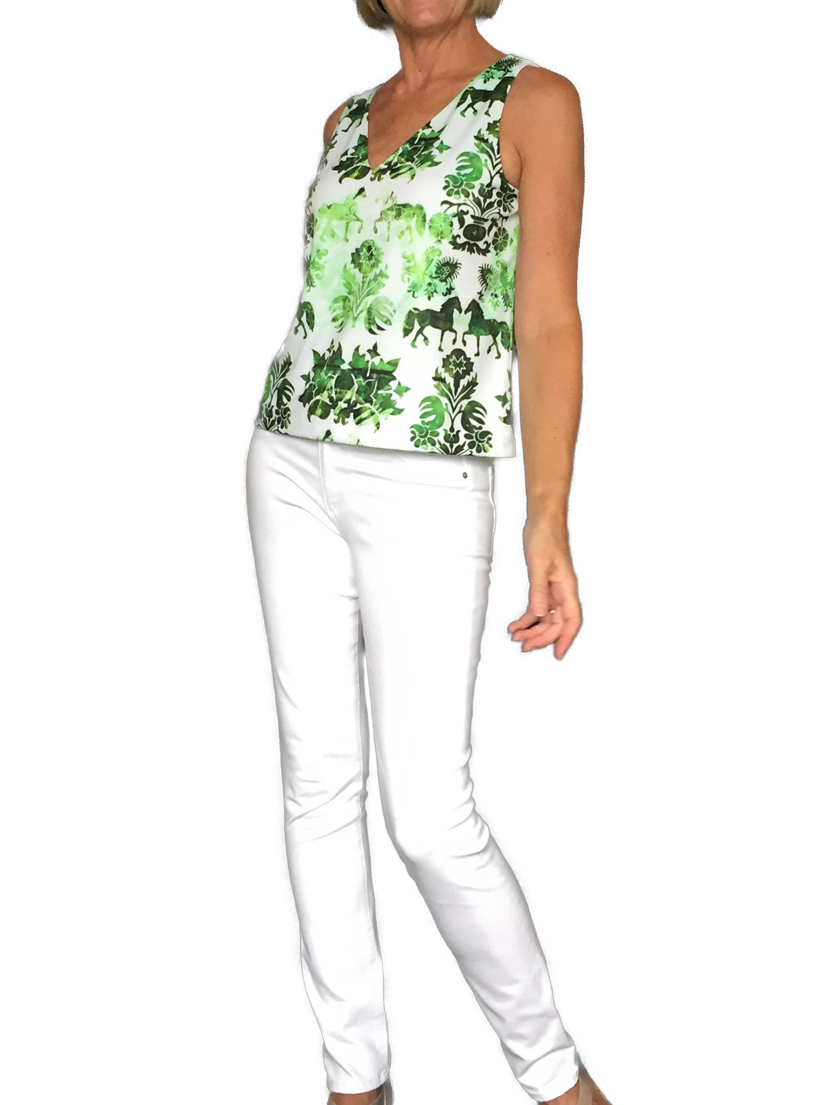 Green Equestrian Print Top