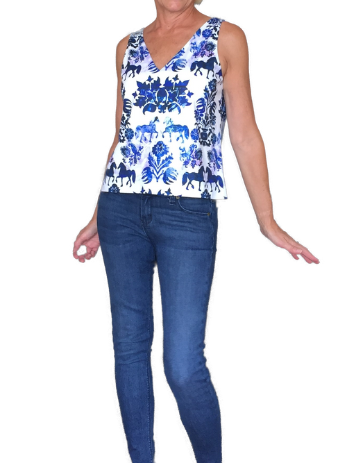 Blue Equestrian Print Top