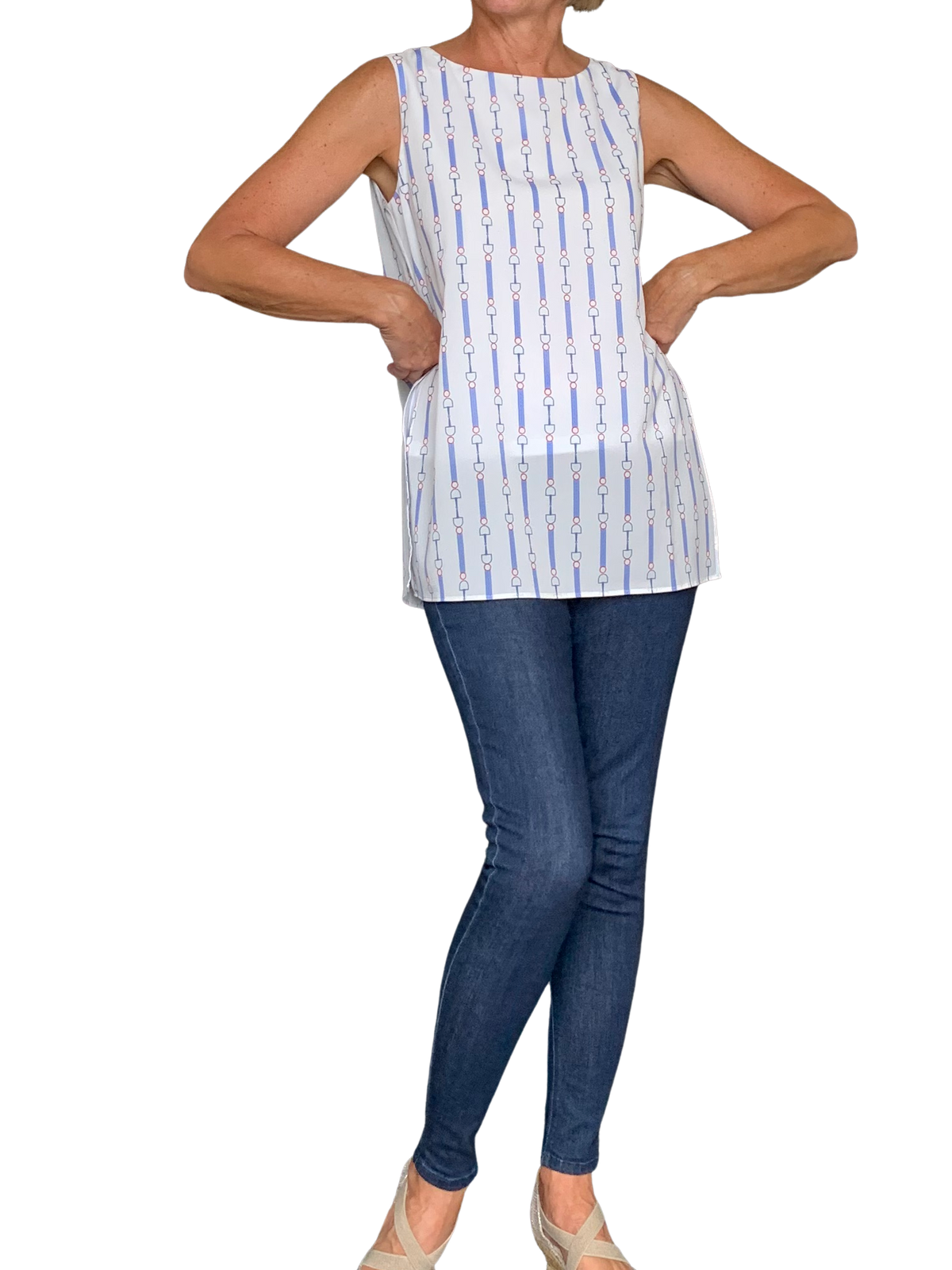 Side Slit Sleeveless Top - Blue Print