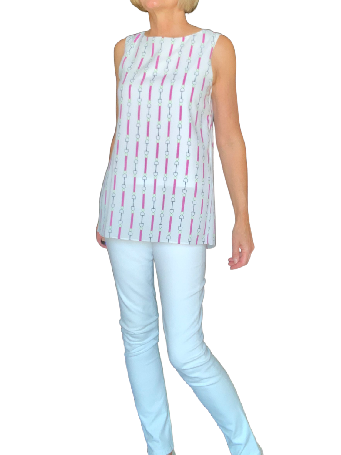 Side Slit Sleeveless Top - Pink Print