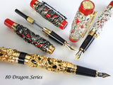 JINHAO 80 Series Silver on Black Dragon and Phoenix Fountain Pen - Fine Nib