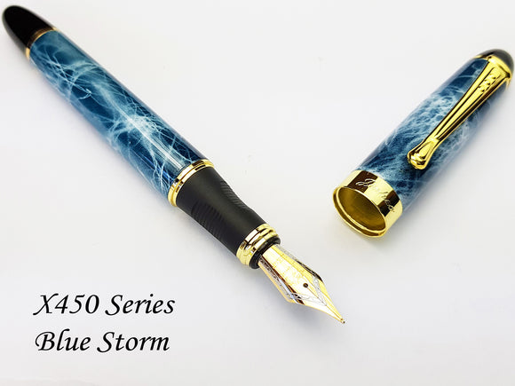 JINHAO X450 Blue Storm Fountain Pen - Medium Nib