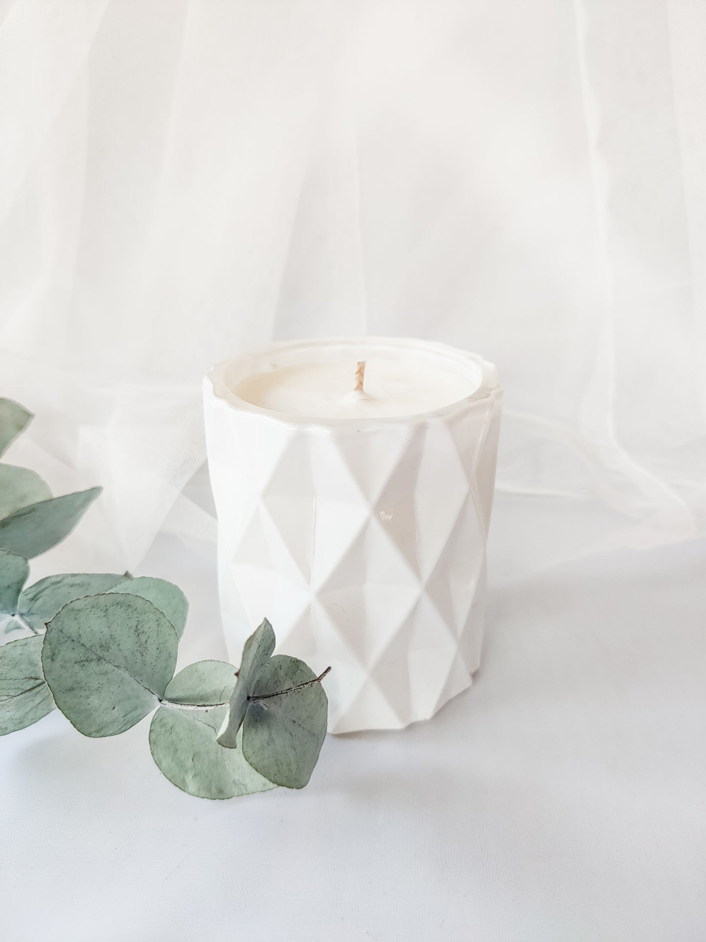 Mini Diamond Jar Candle | GLOSS WHITE