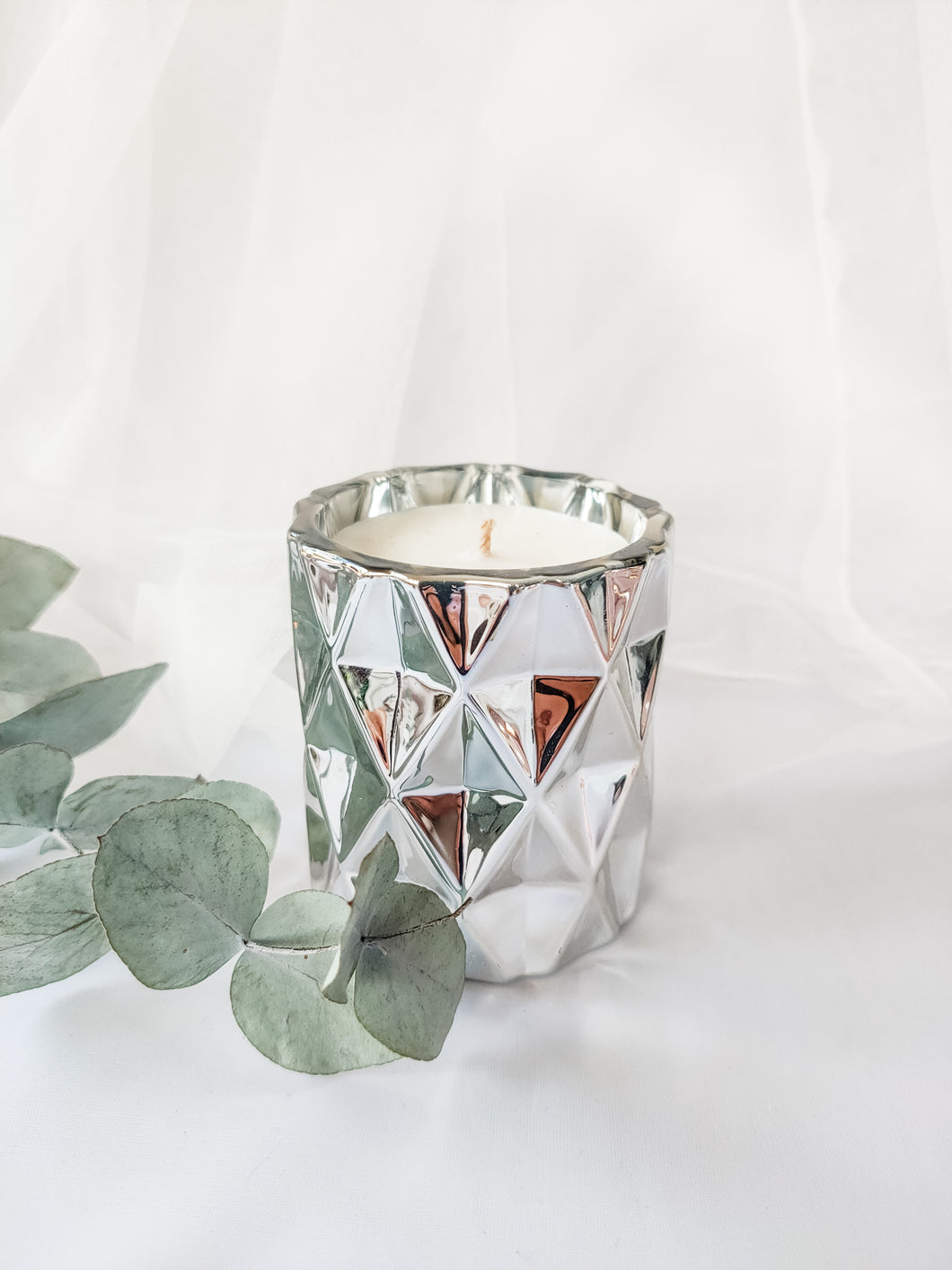 Mini Diamond Jar Candle | SILVER CHROME