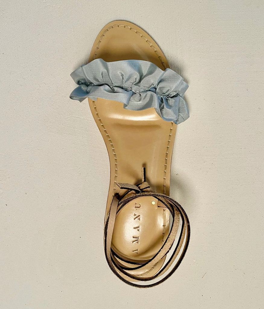 Load image into Gallery viewer, Baby Blue Ruffles + Cognac Leather | Nude Heel