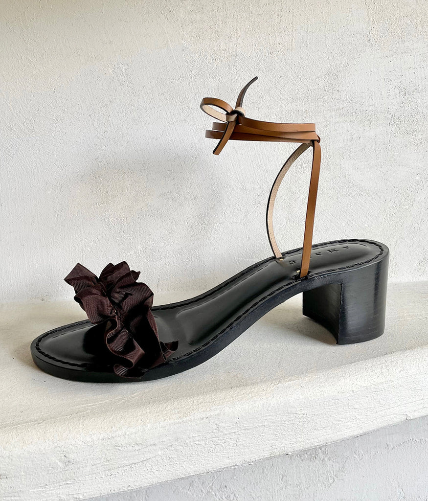 Load image into Gallery viewer, Chocolate Brown Ruffles + Cognac Leather | Black Heel