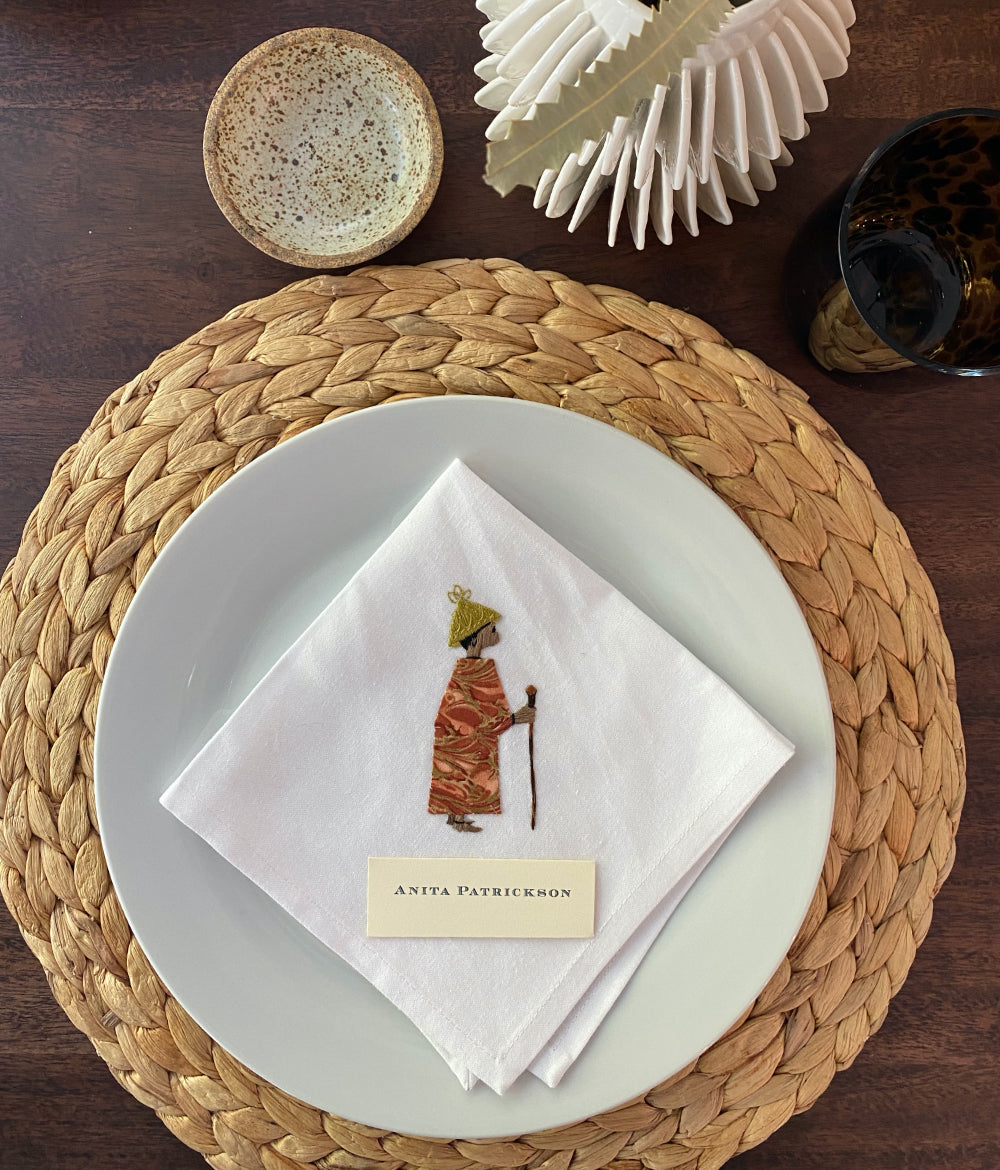 Hand Embroidered Napkins, 4 Piece Set