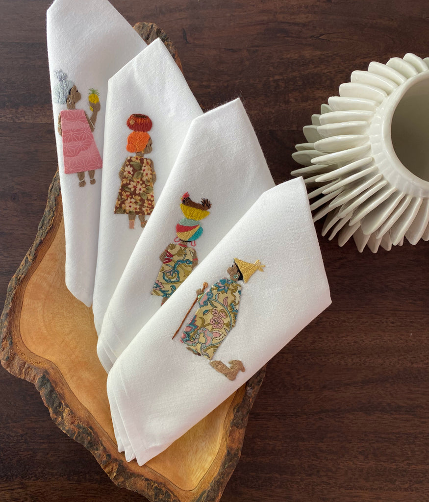 Load image into Gallery viewer, Hand Embroidered Napkins, 4 Piece Set