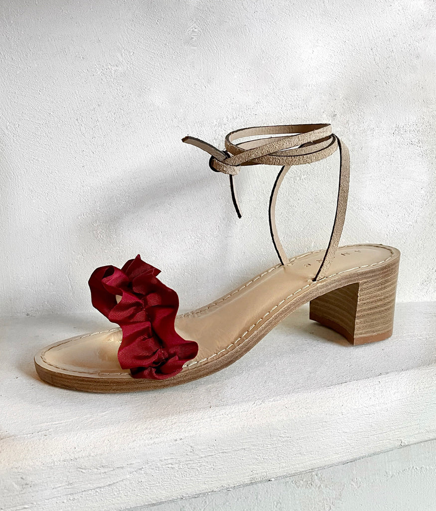 Load image into Gallery viewer, Oxblood Ruffles + Safari Suede | Nude Heel