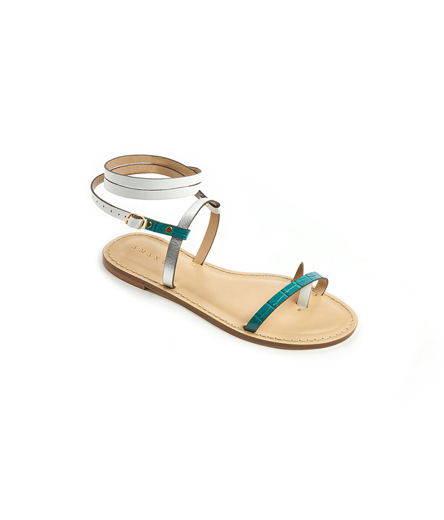 Load image into Gallery viewer, Style 16 / Teal Croc / White / Silver