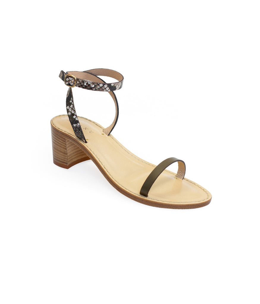 Load image into Gallery viewer, Style 18 | Olive Leather + Stone Python + Black Leather | Nude Heel