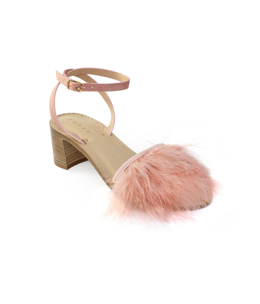 Load image into Gallery viewer, Style 18 | Pink Suede + Pink Feathers | Nude Heel
