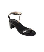 Load image into Gallery viewer, Style 18 | Polka Dot Python + Black Leather | Black Heel