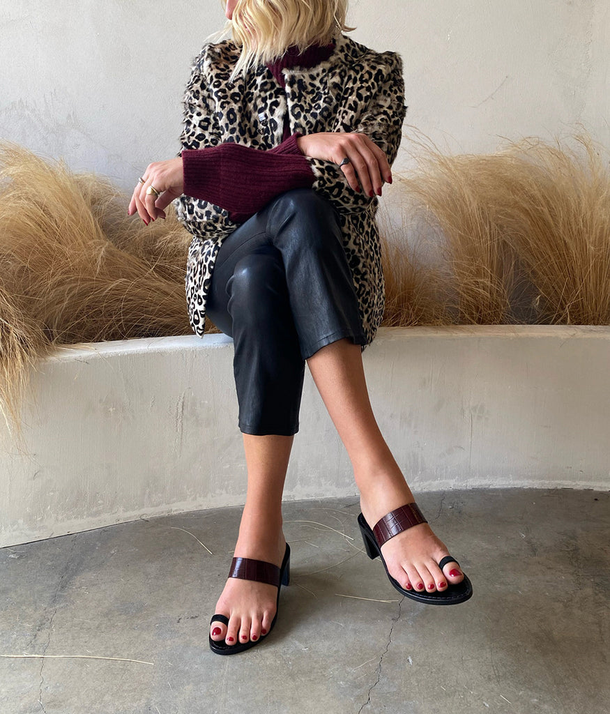 Load image into Gallery viewer, Style 19 | Leopard Pony Hair + Olive Leather | Black Heel