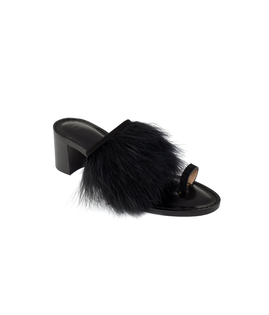 Load image into Gallery viewer, Style 19 | Black Suede + Black Feathers | Black Heel