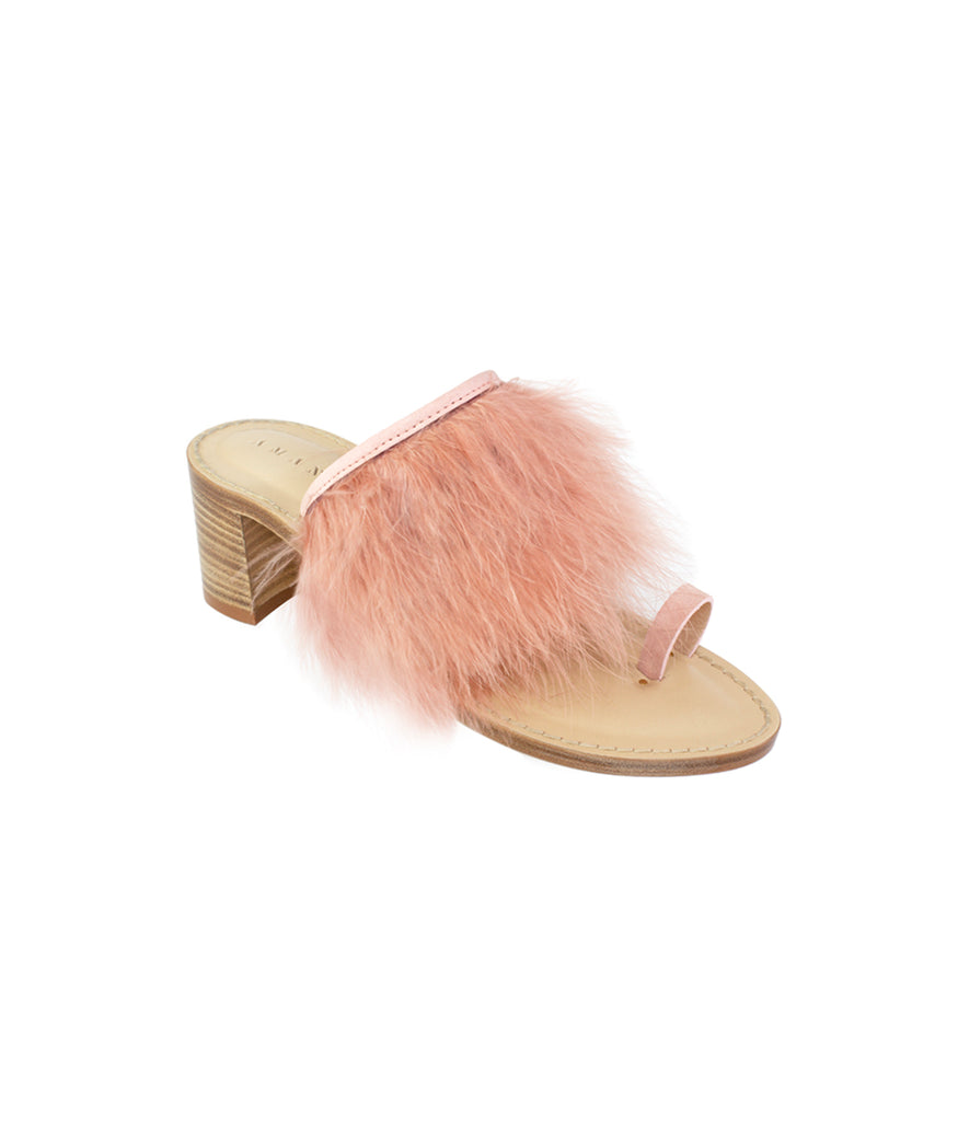 Load image into Gallery viewer, Style 19 | Pink Suede + Pink Feathers | Nude Heel