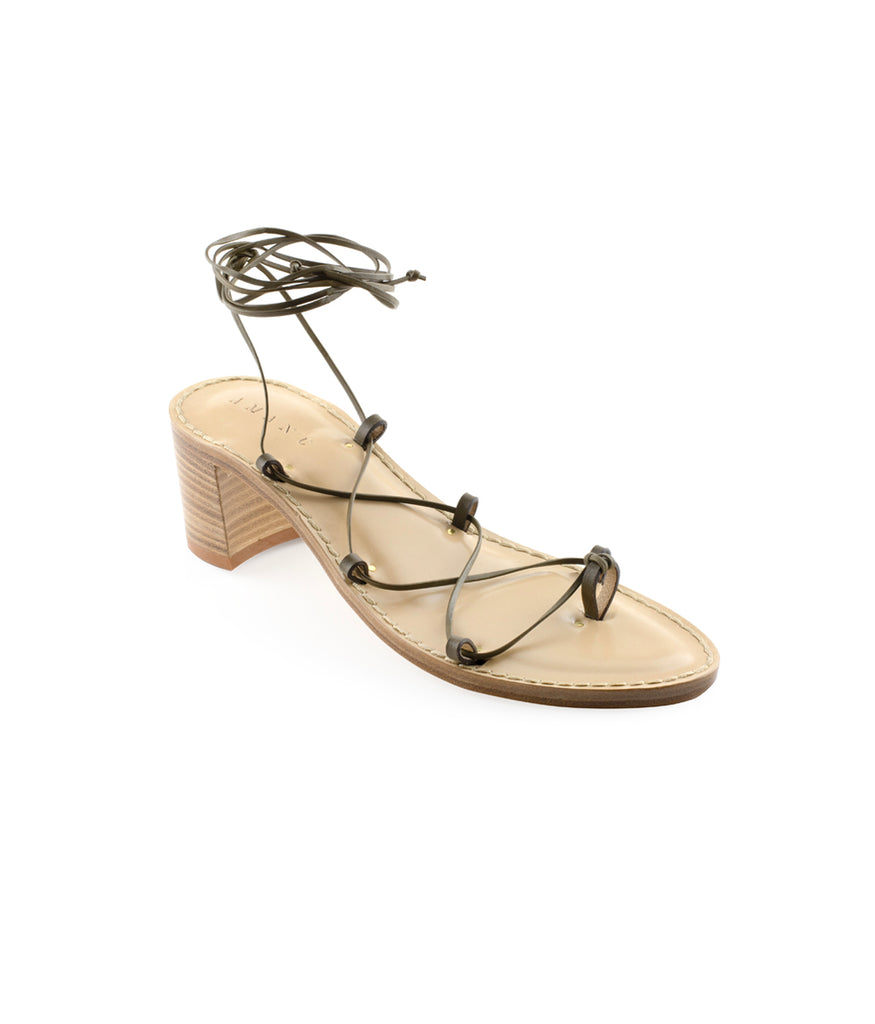 Load image into Gallery viewer, Style 20 | Olive Laces | Nude Heel