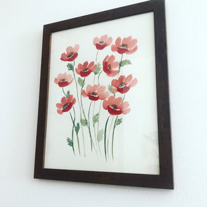 Original Watercolor Poppy Painting