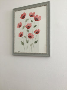 Original Watercolor Poppy Painting 11x14