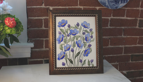 Blue and purple flowers with pointed pen outline - original watercolor painting