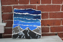 Load image into Gallery viewer, Mountain Night Sky - torn paper collage - original painting collage