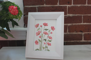 Customizable original watercolor painting florals with pointed pen outline - you choose the colors and size!