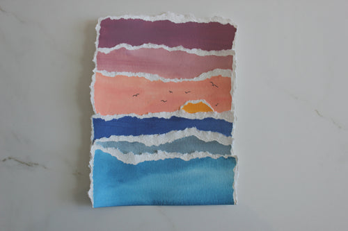 Small Sunrise Ocean torn paper collage original artwork handmade art