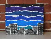 Load image into Gallery viewer, Handmade mixed media cityscape night sky painting collage with gold metallic stars
