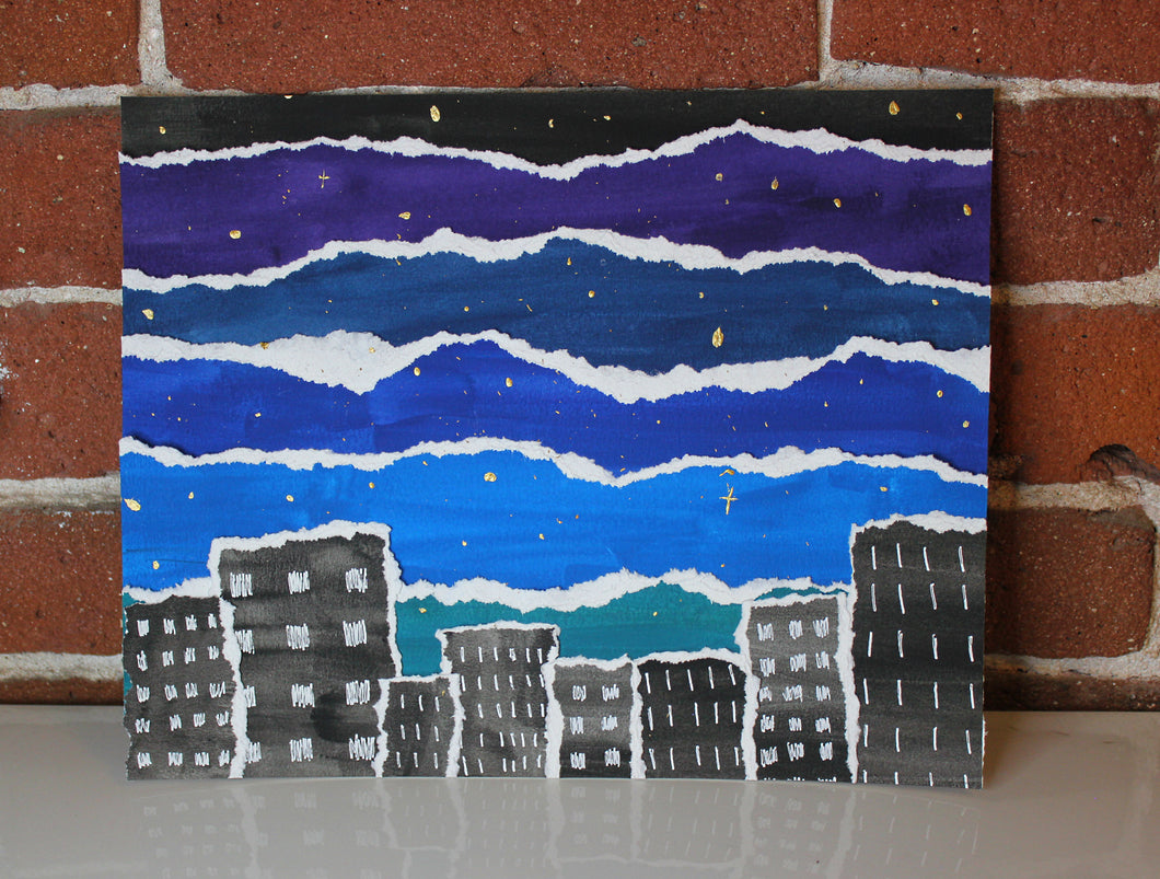 Handmade mixed media cityscape night sky painting collage with gold metallic stars