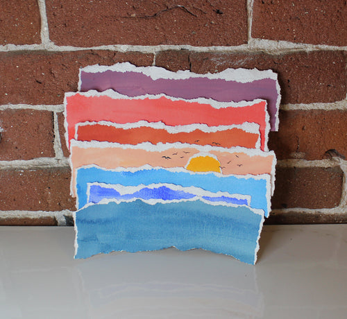 Handmade Ocean Sunset Gouache Torn Paper Collage