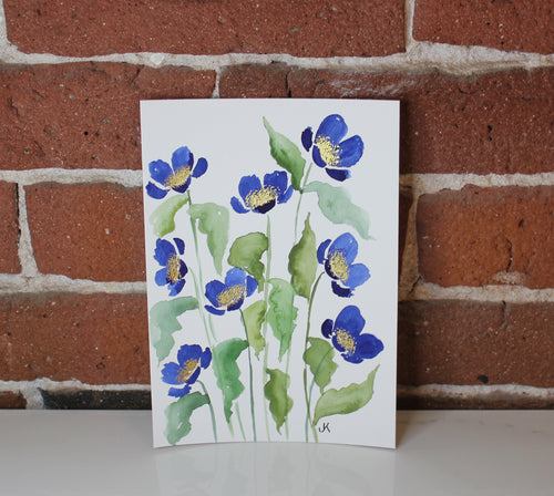 Blue watercolor floral original painting handmade artwork