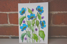 Load image into Gallery viewer, Teal blue watercolor floral original painting handmade artwork