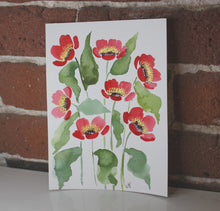 Load image into Gallery viewer, Red watercolor floral original painting handmade artwork